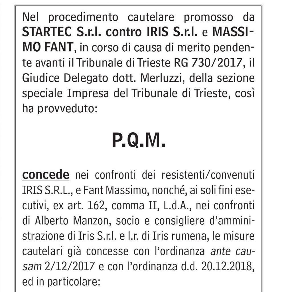 Startec_Iris_MassimoFant_ConcorrenzaSleale_TribunaleTrieste_InformatoreAgrario_2019-n15_pag60_RID
